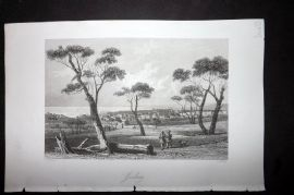 Wright 1860 Antique Print. Geelong, Australia